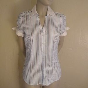 Express Short Sleeve Button Down, white/blue; XS